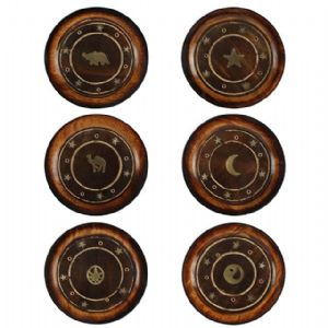 MANGO WOOD ROUND PLATE INCENSE HOLDERS